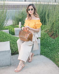 Elizabeth Lee (Stylewich) - Cult Gaia Lilleth Bag, Topshop Paperbag Pants, Ancient Greek Sandals X Fabrizio Viti Sheila - Paperbag
