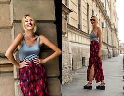 Sofija Surdilovic - Rosegal Colormix Pants, Zara Silver Dress, H&M Green Sandals - Colored