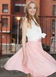 Jasmina Dimitri - Gamiss White Shirt, Intimissimi Mint Top, Zaful Pink Midi Skirt, Bratscher Custom Shoes - Pastels