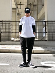 ★masaki★ - Off! Cap, Monochrome Dropcrotch, Vans Oldskool - Black & White