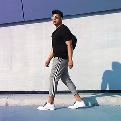 ALLEN M - Zara Side Stripe Trousers, H&M Shoes, Zara Waist Bag - SUMMER SOLSTICE // IG: @ iamALLENation