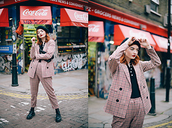 Hannah Louise - Urban Outfitters Red Checked Blazer, Urban Outfitters Red Checked Trousers - Red Checked Suit
