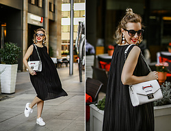 Margarita Maslova - H&M Earrings, Uniqlo Dress - Black & White mood