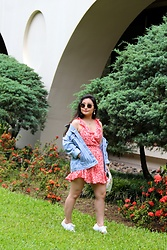 Kristen Tanabe - Shein Floral Romper, Topshop Over Sized Denim Jacket - Frilly in Floral