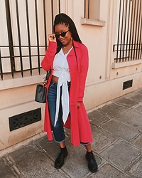 Laura Owusu - Zara Hot Pink Trench Coat, Asos Cropped Denim, H&M Cropped Shirt, Onolly Cat Eye Sunglasses - Incognito
