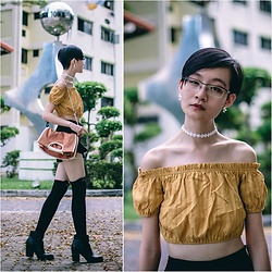 Ren Rong - Owndays Glasses, Zaful Off Shoulder Crop Top, Zaful Floral Choker, Rawrow Bag, Steve Madden Booties - The Cold Shoulder