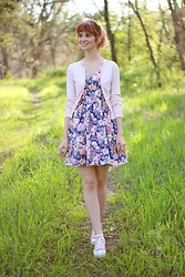 Bleu Avenue Ofbleuavenue - The Other Sparrows Floral Sundress, Coolway Peach Sneakers - Sundress Sunday