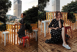 Ceci Bloom - H&M Maxi Dress, H&M Sneakers - Romantic H&M polkadot dress