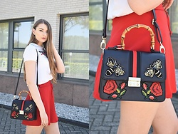 Paulina Kędzierska - Black Bag, White T Shirt, Red Skirt - Red skirt