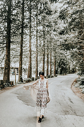 Gabby Chia - Billabong Floral Maxi Dress, Hazel & Heart Bell Sleeve Cardigan, Qupid Black Mules - Meadow Dew