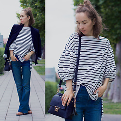 Iva K - Bershka Top, Zara Blazer, Esprit Jeans - Oversized striped top