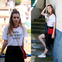 Alba Granda - Zara White Tshirt, Zara Midi Skirt Lace, Mango Red Bag, Converse White - Dress to Impress Myself