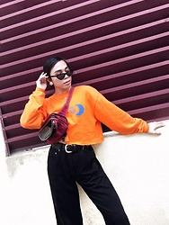 JUN UDAN - H&M Shade, Thrift Store Crop Sweater, Thrift Store Vintage Black Levi'S, Thrift Store Penny Pack, Thrift Store 0.5 Dollar Belt, Forever 21 Roung Rhinestone Necklace, Thrift Store Round Silver Earring - MORE ORANGE PLEASE