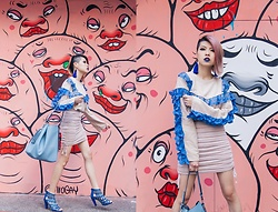 Sheena Son - Sister Market Ruffles Top, Zara Bag, Iki2 Heels - Bloody Blue