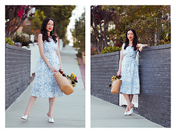 Lisa Valerie Morgan - Sarah Patrick Earrings, Sarah Patrick Dress, Kayu Bag, Aqua Mules - The Sarah Patrick Collection