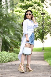 Kristen Tanabe - Astr High Low Wrap Tunic, Zara High Waisted Denim Shorts, Michael Kors Gold Wedges, Blue Metal Ring Purse, Gucci Mother Of Pearl Sunglasses - Summer Blue Hues