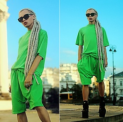 Milex X - Gucci Sunglasses, Nabohu Top, Nabohu Shorts - GREEN LIGHT
