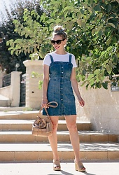 Meagan Brandon - Scrunchie, Tee (On Sale Under $20), Denim Jumper, Brahmin Bag, Mule Wedges (Similar) - 90s Vibes
