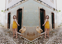 Alex MacEachern - Boohoo Yellow Playsuit, H&M Eye Embroidery Straw Bag - I Want To Make You Feel Beautiful.