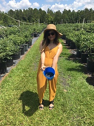 Arielle Pulido - Urban Outfitters Yellow Jumpsuit, Forever 21 Wide Brimmed Sun Hat - Yellow Fever