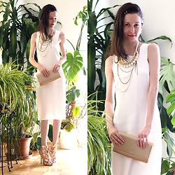 Claire H - Newchic Heels, Edited White Midi Dress, Pandora Clutch - Greek goddess