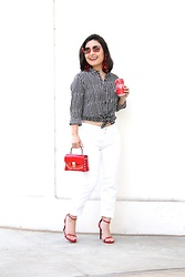 Kristen Tanabe - Forever 21 Star Blouse, Lucky Brand White Jeans, Steve Madden Red Heeled Sandals, Forever 21 Petite Red Purse, Miu Red Sunglasses, H&M Red Earrings - Stars and Firecrackers