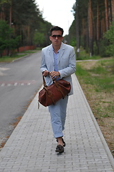 Pawel - Hugo Boss Pants Orange, Hugo Boss Moccasin, Ralph Lauren Shirt, Leather Vintage Bag, Miami Vice (Vintage 90's) Jacket - Hello July!