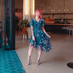 Jessie Barber - Metisu Constellation Dress, Dsw Silver Heels - Summer Skies