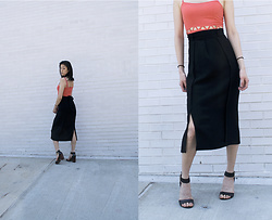 Gi Shieh - Topshop Black Skirt, H&M Orange Cut Out Dress, Steve Madden Black Heeled Sandals - July Lookbook 1