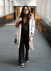 Olivia Corcoran - Zara Long Cardigan, Forever 21 Low Body Suit, Target Striped Pants - Almost Business Casual