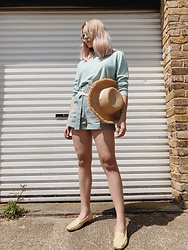 Dominique Malinowska - Asos Straw Hat, Vintage Yellow Snake Skin Loafers, Nasty Gal High Waisted Mint Shorts, Vintage Mint Turtle Neck - Mint