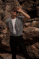 Georg Mallner - Mango Shirt, Topman Tshirt, H&M Pants, Ray Ban Sunglasses - July 08, 2018