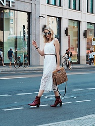 Laura Simon - Zadig & Voltaire Red Boots, Topshop Brown Bag, Zara White Lace Overall, Topshop White Sunglasses - Fashion Week Berlin