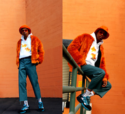 Dominic Grizzelle - Marble Clothing Goldfish Hoodie, Thenewcounty Orange Fur, Dickies Pleated Work Pants, Adidas Raf Simons X - Hello Weekend