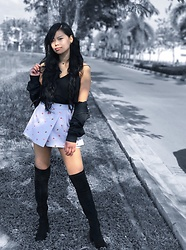 Sabina Sok - Thigh High Boots, L'zzie Bottom, Love Bonito Iieara Layered Pleated Camisole, Lonsdale Jacket - Melancholy