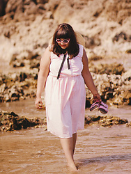 Ragini R - Beloved Endeavour Vintage Dress, Handmade Wide Brimmed Straw Hat, Birkenstock Pink Birkenstocks, Asos Round Pink Sunglasses - Beachy Keen