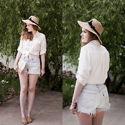 Emily S. - Chiffon Button Down, Etsy Cactus Print Clutch, N/B Sunhat, Levi's® Denim Shorts, Nature Breeze Slides - Summer Storms