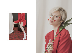 Natalia Klimza - Zara Red Jacket, Retfrem Silver Earrings, Zara White Shoes - With the coming of spring 01