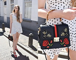 Paulina Kędzierska - Polka Dot Dress, Black Bag, Zara Choker - Polka dot dress