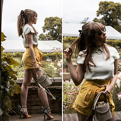 Eloise Alice -  - Butterfly heels & Yellow Paper bag shorts
