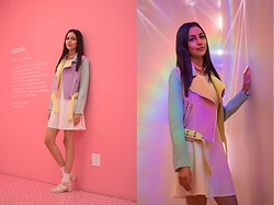 Ami Amour - Sugarpillclth Pastel Moto Jacket, Gojane Jelly Sandals, H&M White Skater Dress - Museum of Ice Cream