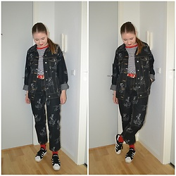 Mucha Lucha - H&M Denim Jacket, Bershka T Shirt, Asos Belt, H&M Jeans, Adidas Sneakers - Cutest Canadian tuxedo
