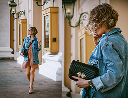 Margarita Maslova - Bershka Denim Jacket, H&M Dress, Zara Bag, Asos Sandals, Daniel Wellington Watches - Denim jacket