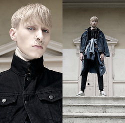 Samm Bate - Cruz Bueno Beige Turtle Neck Jumper, Topman Denim Jacket, Rokit Denim Shirt 1, Acne Studios Silver Shoes, Topman Light Denim Shirt, Topman Denim Jacket, Topman Black Skinny Jeans - Modern Gods
