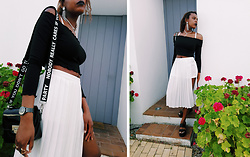 Yara Snow'z - H&M Black Top Of Bare Shoulders, Forever 21 White Pleated Skirt, Bershka Black Faux Leather Bag - BW_1207