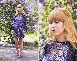 Julia F. - Asos Maternity Pretty Enchanted Lace Smock Mini Dress, Parfois Clutch, Pull & Bear Velvet Shoes - Enchanted Lace Dress
