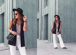 Aiste Mondayjazz - H&M Hat, Mango Gillet, Zara Top, Christian Dior Sunglasses, Zara Clutch, Morgan Pants, Otre Sliders - OOTD: classic white pants & Monaco vibes
