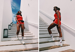 Yara Snow'z - Zara Red Bodysuit, Primark Red Shorts, H&M Cherry Pattern Socks - Cherrybomb_1507
