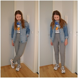 Mucha Lucha - H&M T Shirt, H&M Denim Jacket, Asos Belt, Monki Trousers, Topshop Sneakers - Chunky sneakers