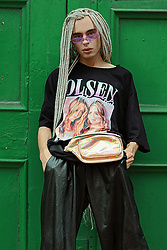 Milex X - Giant Vintage Sunglasses, Time Warp T Shirt, Starlight Accessories Bum Bag, Topman Pants - OLSEN TWINS